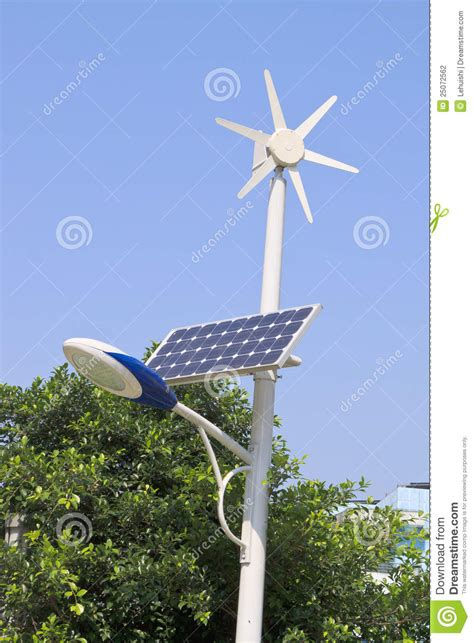street light  solar  wind power plant stock