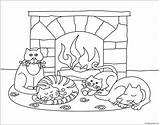 Winter Scenes Pages Animals Coloring Printable Seasons Nature sketch template