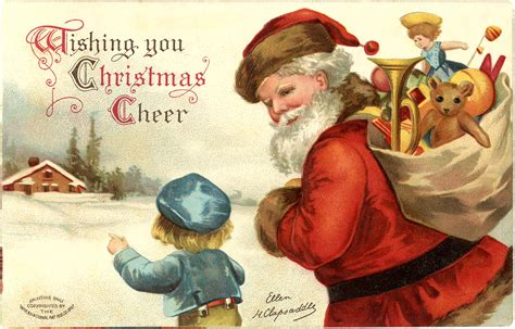 Santa Postcard Giving Toys To From Antique 1000 Images About Postcards Horizontal On