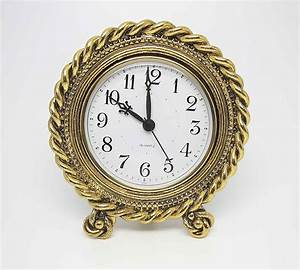 Antique, Style, Desk, Clock, With, Twisted, Rope, Design