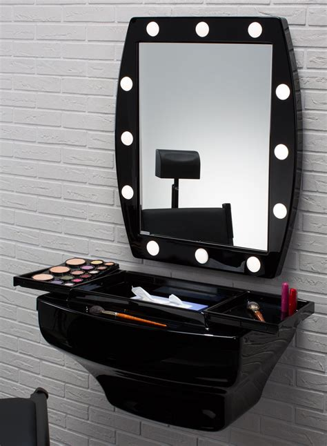 Makeup Vanity With Lights by Mcw Shiny Black Wall Mounted Makeup Station