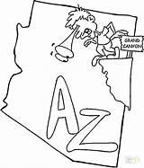 Coloring Arizona State Map Canyon Grand Ohio Osu Printable Flag North America Getcolorings Colorings Getdrawings Categories sketch template