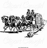 Stagecoach Fargo Wells Coloring Clipart Template Cowboy sketch template