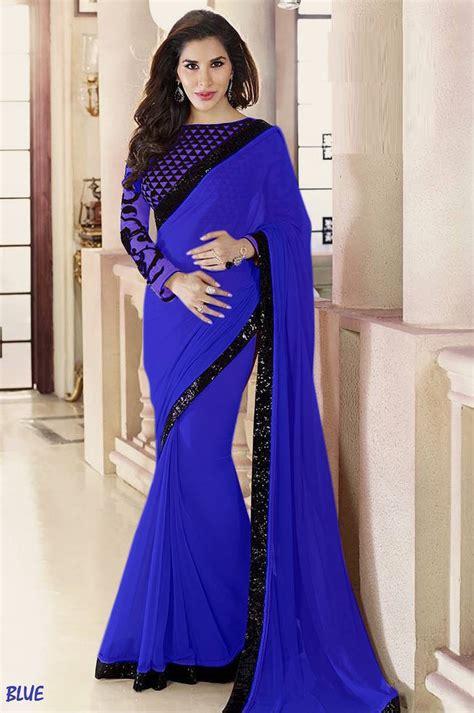 plain saree with designer blouse buy blue plain georgette designer saree with blouse
