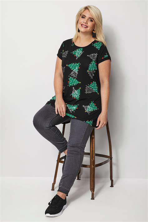 Czarny świąteczny Tshirt, Duże Rozmiary 4464,yours Clothing