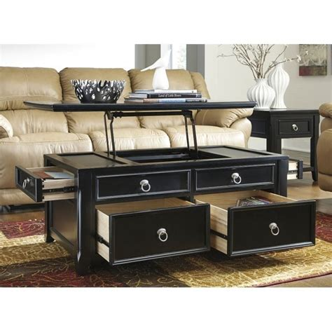 Shepherdsville traditional brown wood coffee table set. Ashley Greensburg Lift Top Coffee Table in Black - T811-20