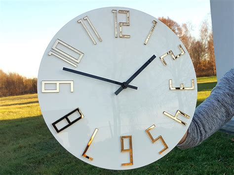 We love clocks of all shapes and sizes. large wall clock, Mirror gold, wall clock, gift, wall ...