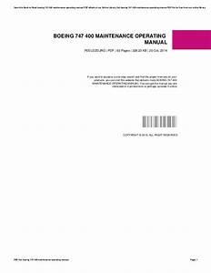 Boeing 747 400 Maintenance Manual Pdf