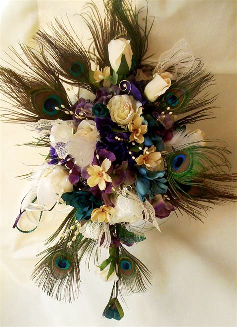 Peacock Feather Wedding Bouquet Package Bridal Party Ivory