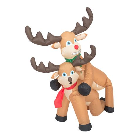 funny humping reindeer christmas lawn inflatable
