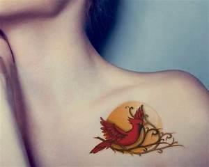 Cardinal Bird Tattoo On Front Shoulder