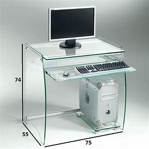 Meuble Bureau Design : meuble informatique verre table bureau design lepolyglotte ~ Melissatoandfro.com Idées de Décoration