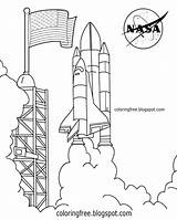 Rocket Coloring Space Nasa Shuttle Drawing Center Printable Launch Saturn Sheets Kennedy Solar System Printables States United Planet Complex Pad sketch template