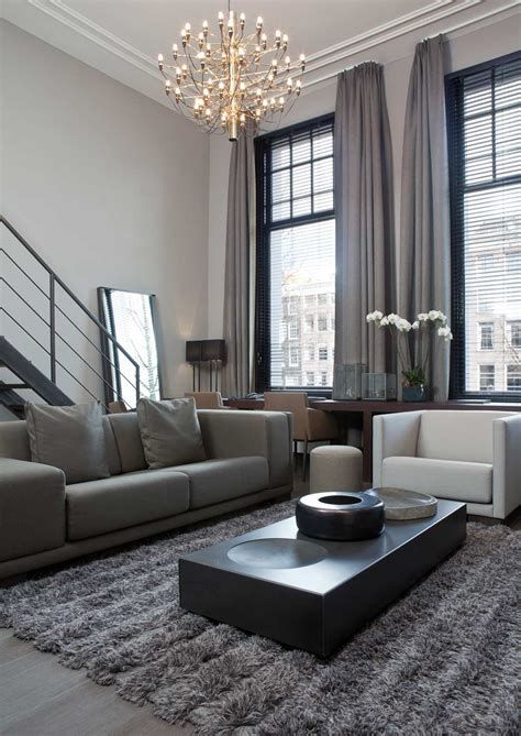 Grey Living Rooms with Curtains