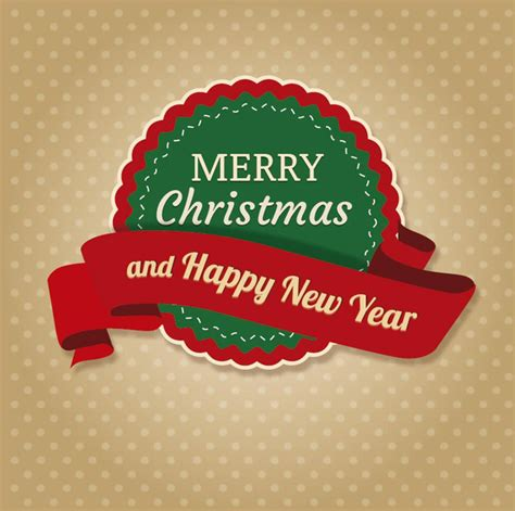 merry christmas round vector merry christmas round label ribbon free vector