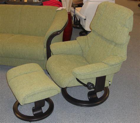 stressless reno medium recliner chair with ottoman
