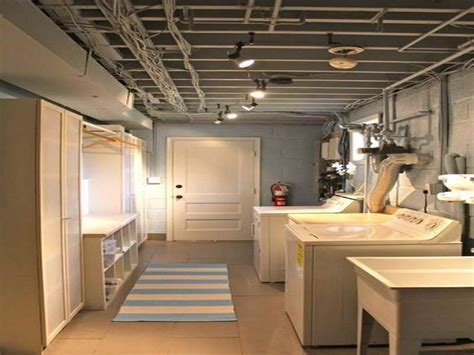 comfortable basement laundry room design ideas  white