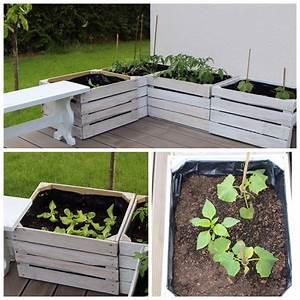 Obstkisten Deko Garten : hochbeet aus alten obstkisten schilder aus schiefer ~ Michelbontemps.com Haus und Dekorationen