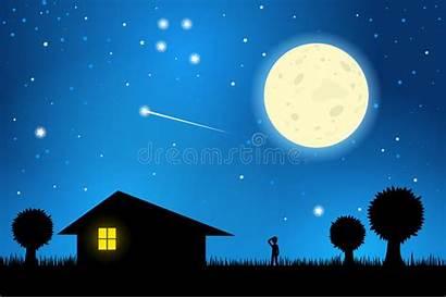 Night Moonlit Stargazing Sky Moon Outside Starry