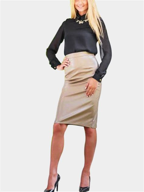 Leather Look Pencil Skirt In Gold Us795 Yoins