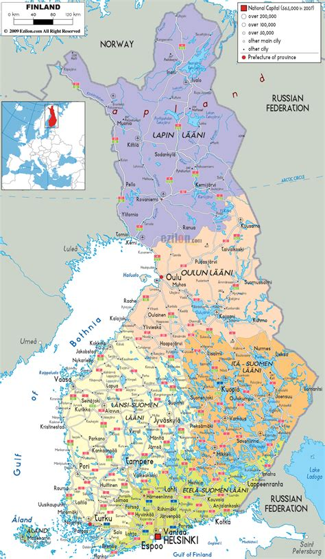 detailed political map  finland ezilon maps