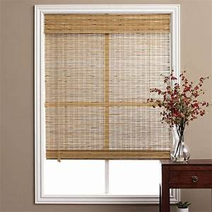 single piece brown tuscan bamboo 42 inch x 74 inch long With 25 inch roman shades