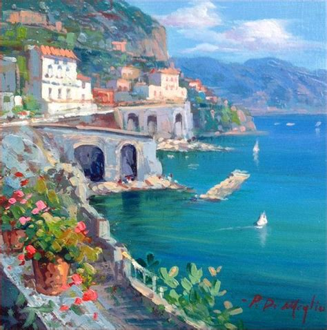 Amalfitan Coast Italy Original Painting Of Paolo De Meglio