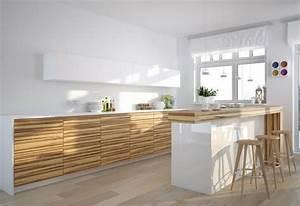 Cuisine Bois Et Blanc : cuisine blanc laque ~ Dailycaller-alerts.com Idées de Décoration