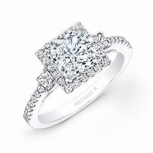 nk20305 w 14k white gold square halo princess cut diamond With square cut diamond wedding rings