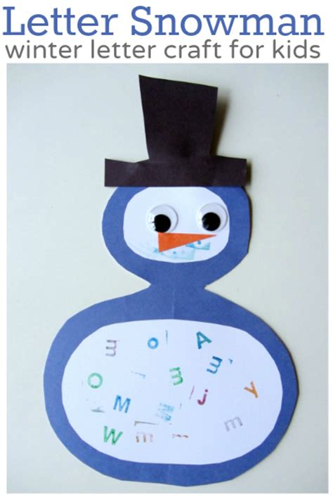 winter crafts and activities for preschoolers no time 476 | letter snowman craft for kids