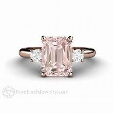 Emerald Cut Morganite And Diamond Bridal Or Right Hand