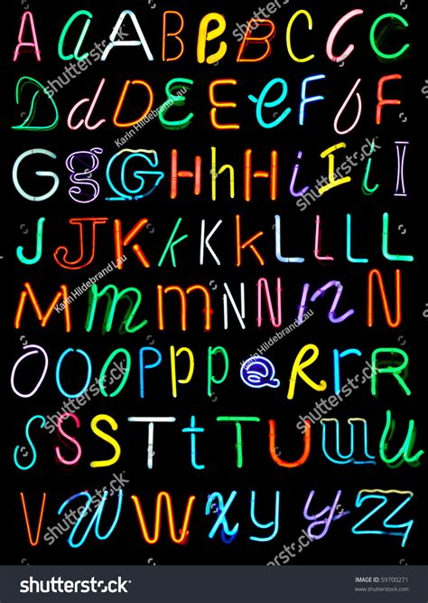 letters alphabet  neon signs stock photo