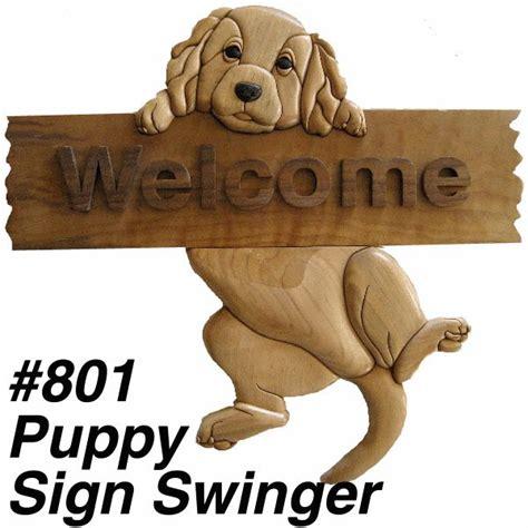 kathy wise intarsia puppy sign swinger intarsia wood