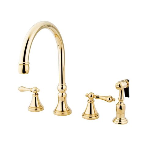 kitchen faucet designs shop elements of design polished brass 2 handle high arc