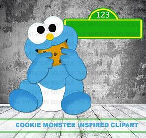 BABY COOKIE Monster Clipart Hand Drawn Digital file INSTANT