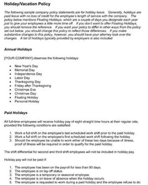 Time Off Request Policy Template by Sle Time Off Policies Small Business Free Forms