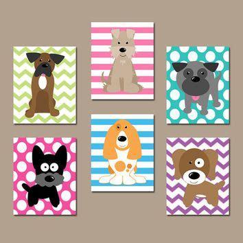 dog nursery wall art canvas  prints baby girl nursery