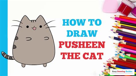 draw pusheen  cat    easy steps drawing