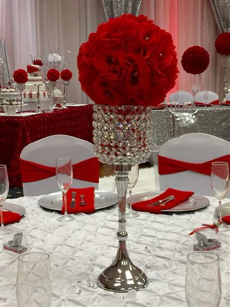Diamonds & red roses Quinceañera party table See more