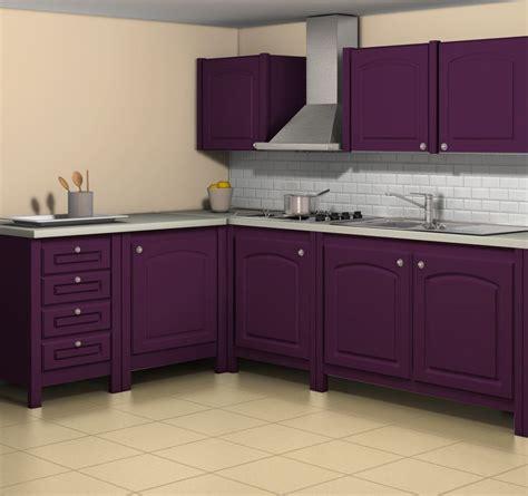 meuble cuisine aubergine esprit cagne simulation avec la teinte aubergine