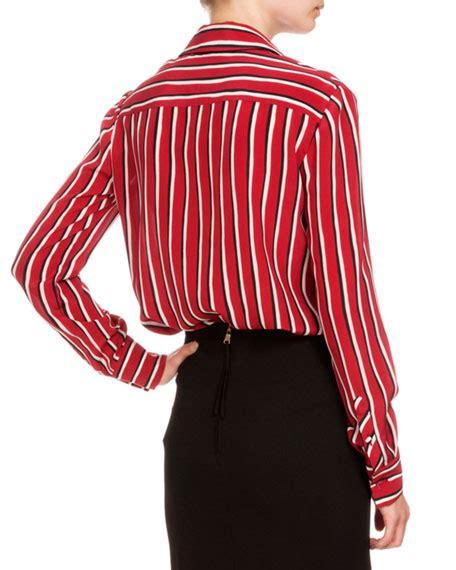 altuzarra long sleeve striped silk blouse blackredwhite