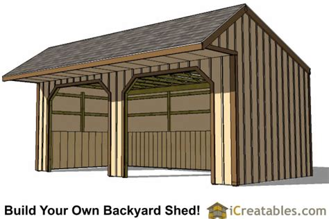 12x24 Shed Plans Materials List by 12x24 Run In Shed Plans With Cantilever Roof