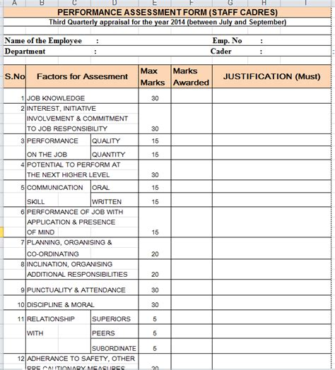 employee evaluation form exle quarterly performance appraisal form