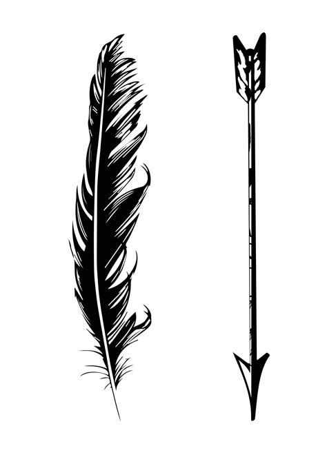 black  white arrow  feather tattoo design tattoos