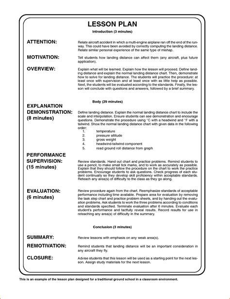 sample lesson plan outline 7 sample lesson plan format bookletemplate org