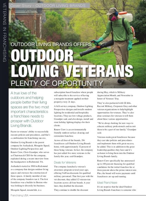 201510 Franchising Usa  Outdoor Living Brands Article