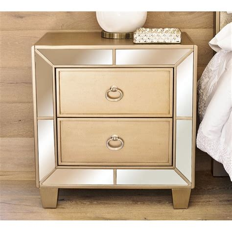 Gold Nightstand by Abbyson Living 2 Drawer Mirrored Nightstand In