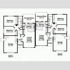 Eplans Ranch House Plan Single Level Duplex Square Feet