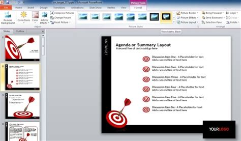 target darts template  powerpoint