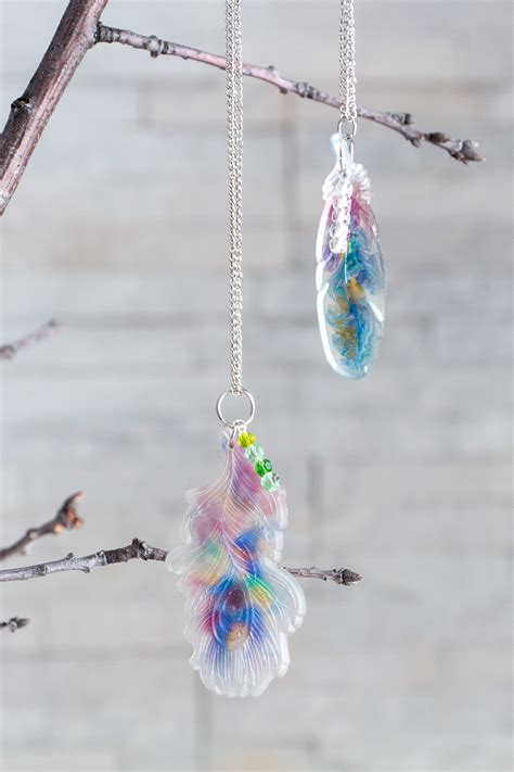 faux watercolor resin feather pendants resin crafts